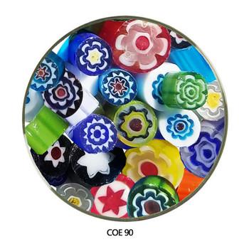 Millefiori Multi Color Sliced Flowers Fusible COE90 1 oz, Close Up, SKU 90457