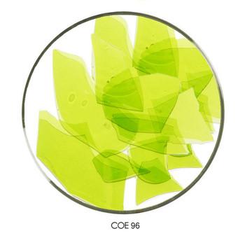 Coloritz™ Confetti Glass Shards Lemongrass Green Transparent COE96, SKU 96924-CG