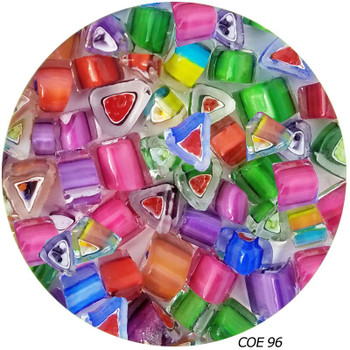 Murrini Multi-Color Rainbow Triangles Fusible COE96, SKU 96451