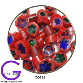 Murrine Millefiori Sliced Red Pattern Fusible COE90