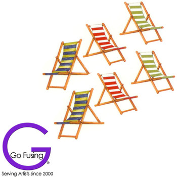 Beach Chair Fused Glass Decal Ceramic Waterslide Set