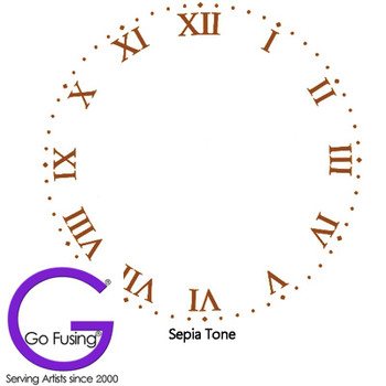 Fused Glass Decal Clock Face Roman Sepia Numeral Waterslide Ceramic