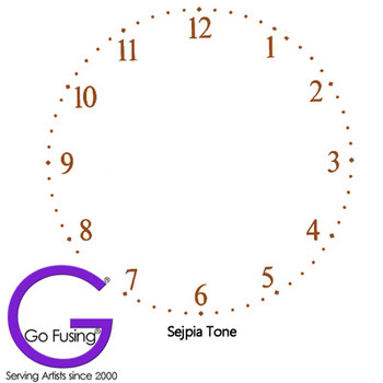 Clock Face Sepia Tone Number Fused Glass Decal Ceramic Waterslide