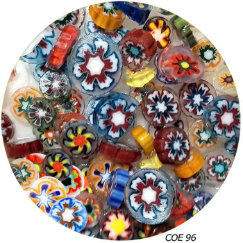 Millefiori Multi Color Sliced Large Flower Pattern Fusible COE96, SKU 96450