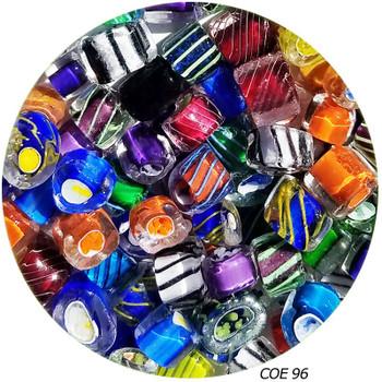 Murrini-Geometric Multi-Color Stripes-Solids Fusible COE96, SKU 96456