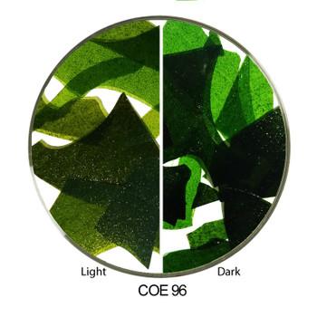 Comparing Light and Dark Green COE96 Confetti Glass Shards