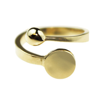 Adjustable Ring Blank 18k Gold Plated Plain 10 mm Glue-on Pad