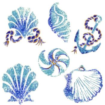 Batik Seashells Waterslide Glass Ceramics Decal