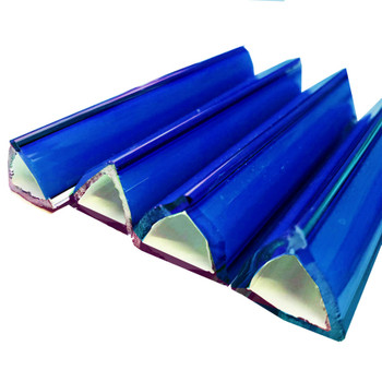 Murrini-Geometric Cobalt Blue Tube Triangle Blanks Fusible COE96