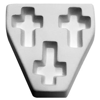 Cross Triple Pendant Frit Cast Mold, SKU 412GF-7020G