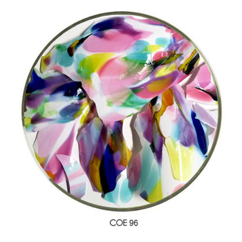 Carnival Confetti Glass Multi-Mix Shards on White COE96 , SKU 96-31-Multi-Mix-W