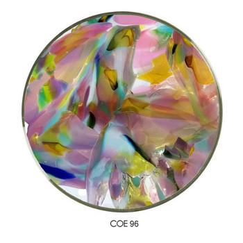 Carnival Confetti Glass Multi-Mix Shards on Clear COE96 , SKU 96-32-Multi-Mix-C