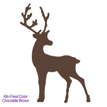Example of the kiln fired Chocolate Brown fusible Precut Glass Reindeer (96815)