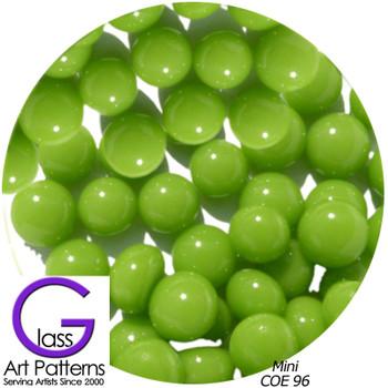 COE96 Glass Pebble Polka Dots - Amazon Green Opaque