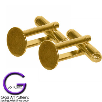 Cuff Links, Gold Plated, Glue on Pad