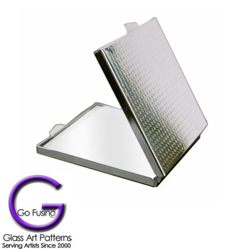 Compact: Make up Mirror Magnified Silver Tone Backside View