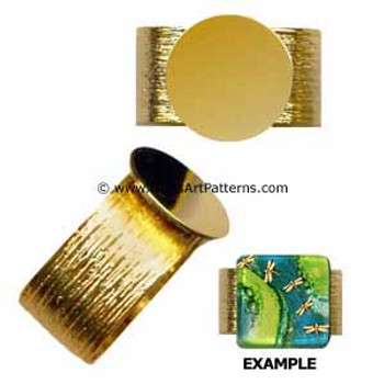Adjustable Ring Blank, Gold 24k Plated, Brushed Pattern, 12 mm Pad