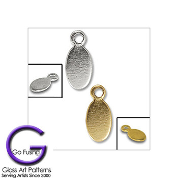 Jewerly Finding Accessory: Oval Drop Loop Tags in Gold or Silver tone