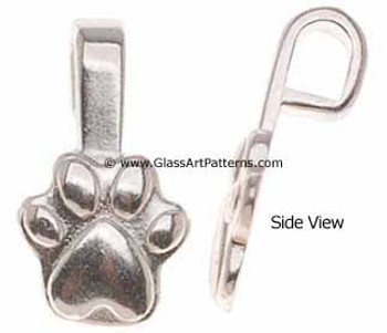 Glue on Bail for Fused Glass Jewelry Sterling Silver Plated Paw Bail