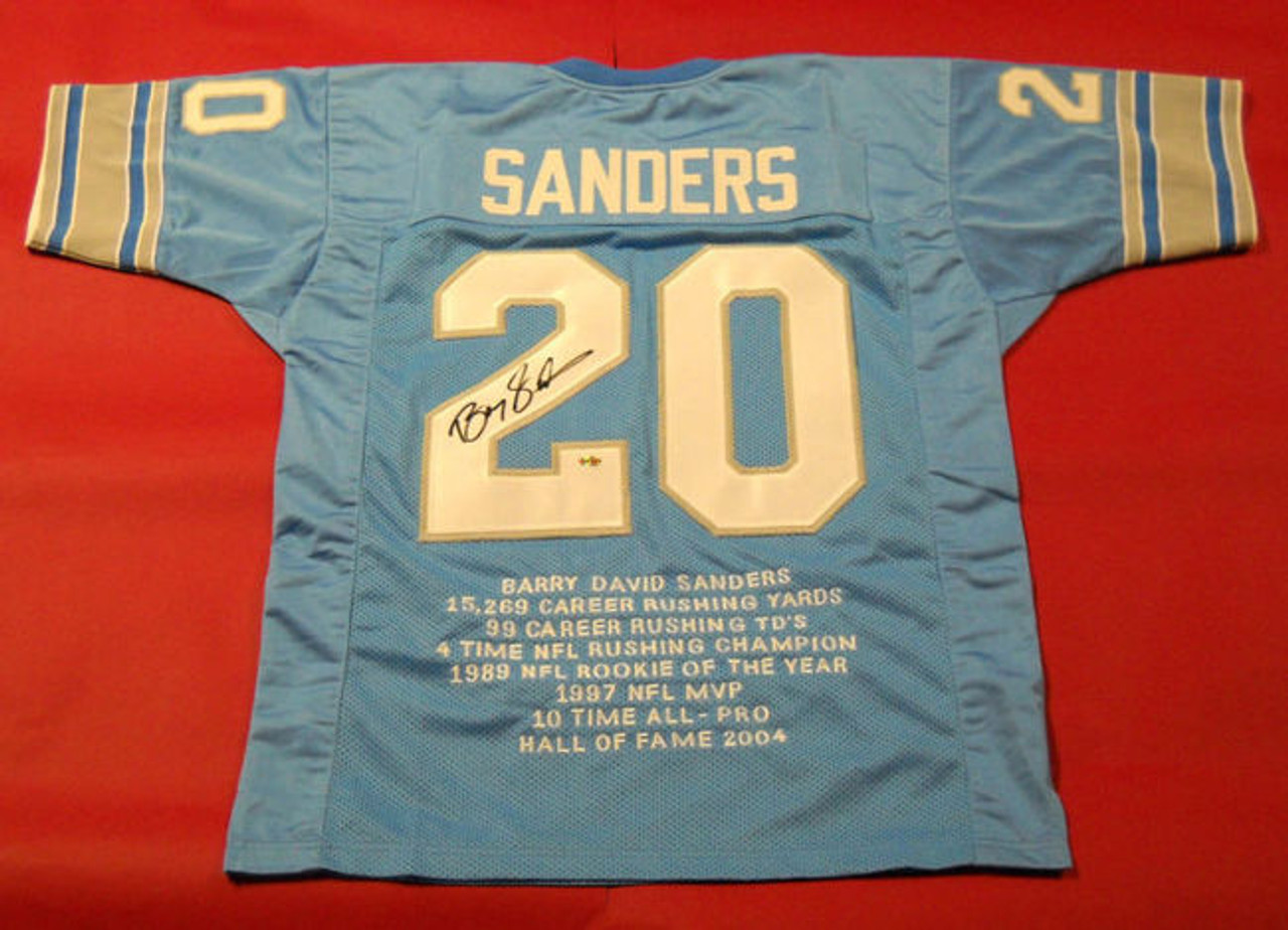 BARRY SANDERS JIM BROWN AUTOGRAPHED LIONS BROWNS STAT JERSEYS AASH JSA -  All American Sports House 6315cf6b7