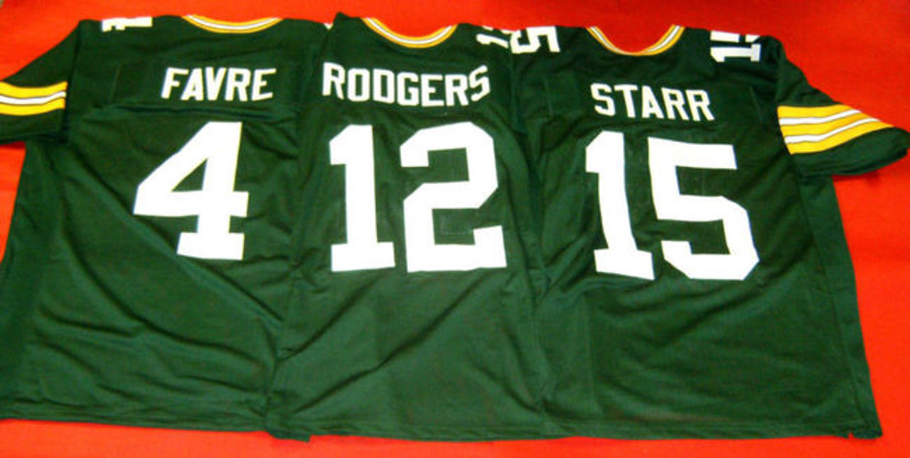 f420d356 BRETT FAVRE AARON RODGERS BART STARR CUSTOM GREEN BAY PACKERS JERSEYS QBS  GREATS