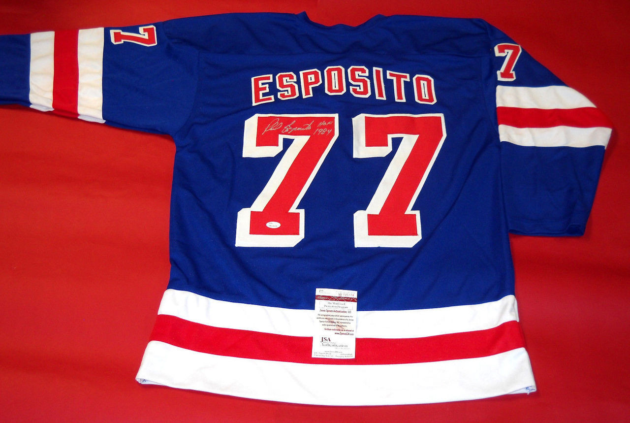 hot sale online 46bfb 2177d PHIL ESPOSITO AUTOGRAPHED NEW YORK RANGERS JERSEY JSA HOF 1984 COLOR BLEED  READ