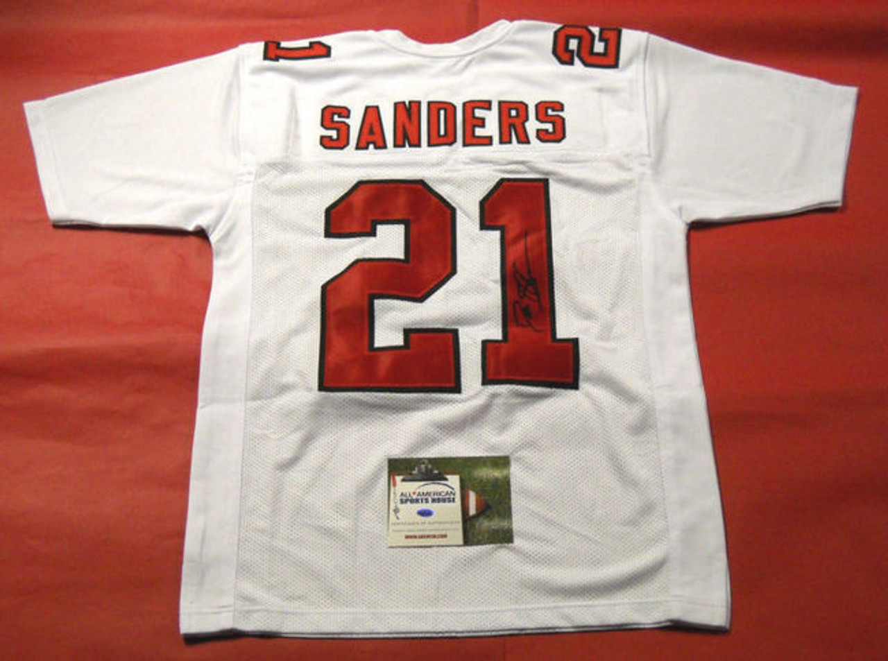 pretty nice b5a91 cd8a6 DEION SANDERS AUTOGRAPHED ATLANTA FALCONS THROWBACK JERSEY AASH