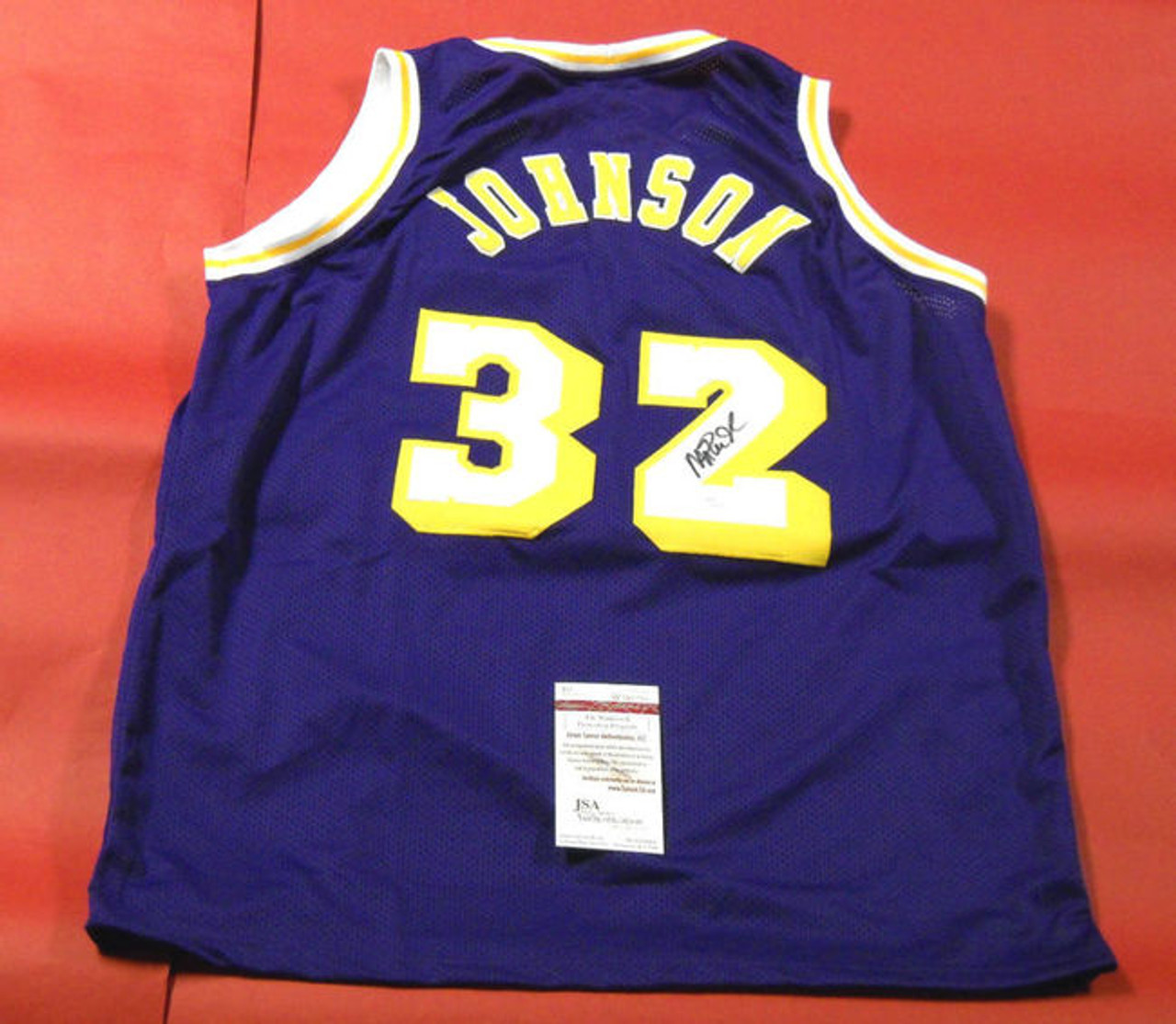 save off a6ff8 17757 MAGIC JOHNSON AUTOGRAPHED LOS ANGELES LAKERS JERSEY JSA