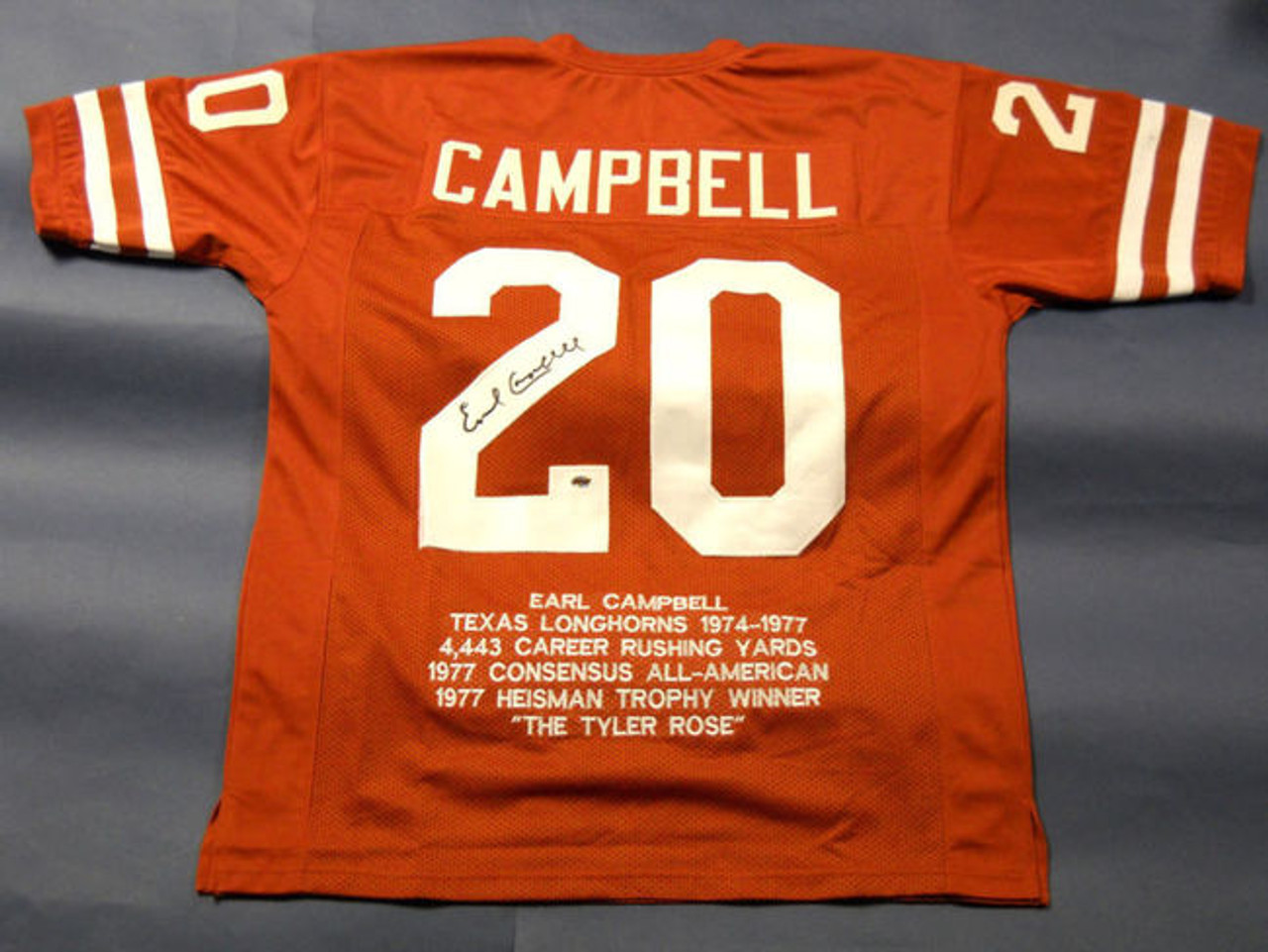 separation shoes b5f50 0141e EARL CAMPBELL AUTOGRAPHED TEXAS LONGHORNS STAT JERSEY