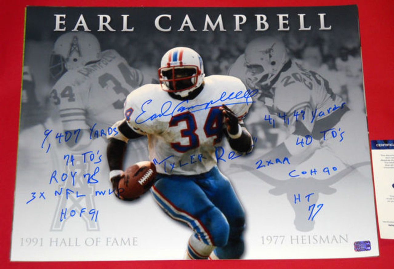 new style 43ced e9b42 EARL CAMPBELL SIGNED HOUSTON OILERS TEXAS UT COLLAGE 16X20 PHOTO AASH 11  INSC