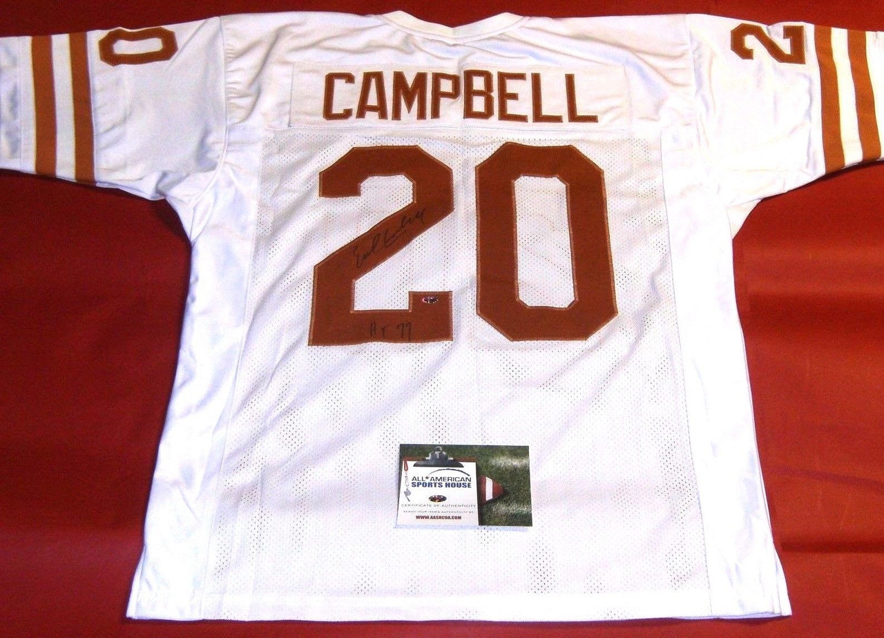 new arrivals bc9cc 094f2 EARL CAMPBELL AUTOGRAPHED TEXAS LONGHORNS JERSEY AASH HEISMAN