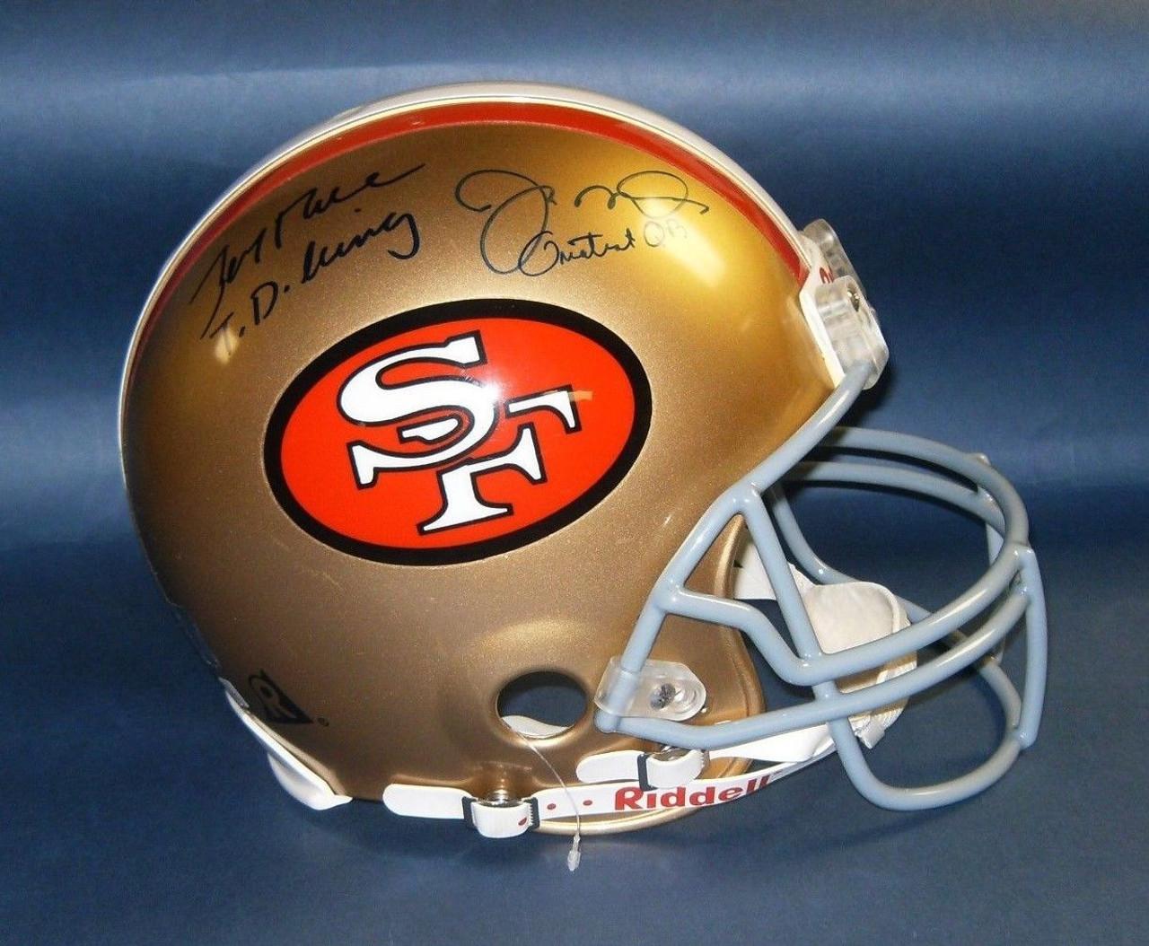 JERRY RICE JOE MONTANA AUTOGRAPHED SAN FRANCISCO 49ERS FS PROLINE HELMET JR  JM HOLOGRAMS Autographed Jerry Rice and Joe Montana Full Sized San Francisco  ... 937363201