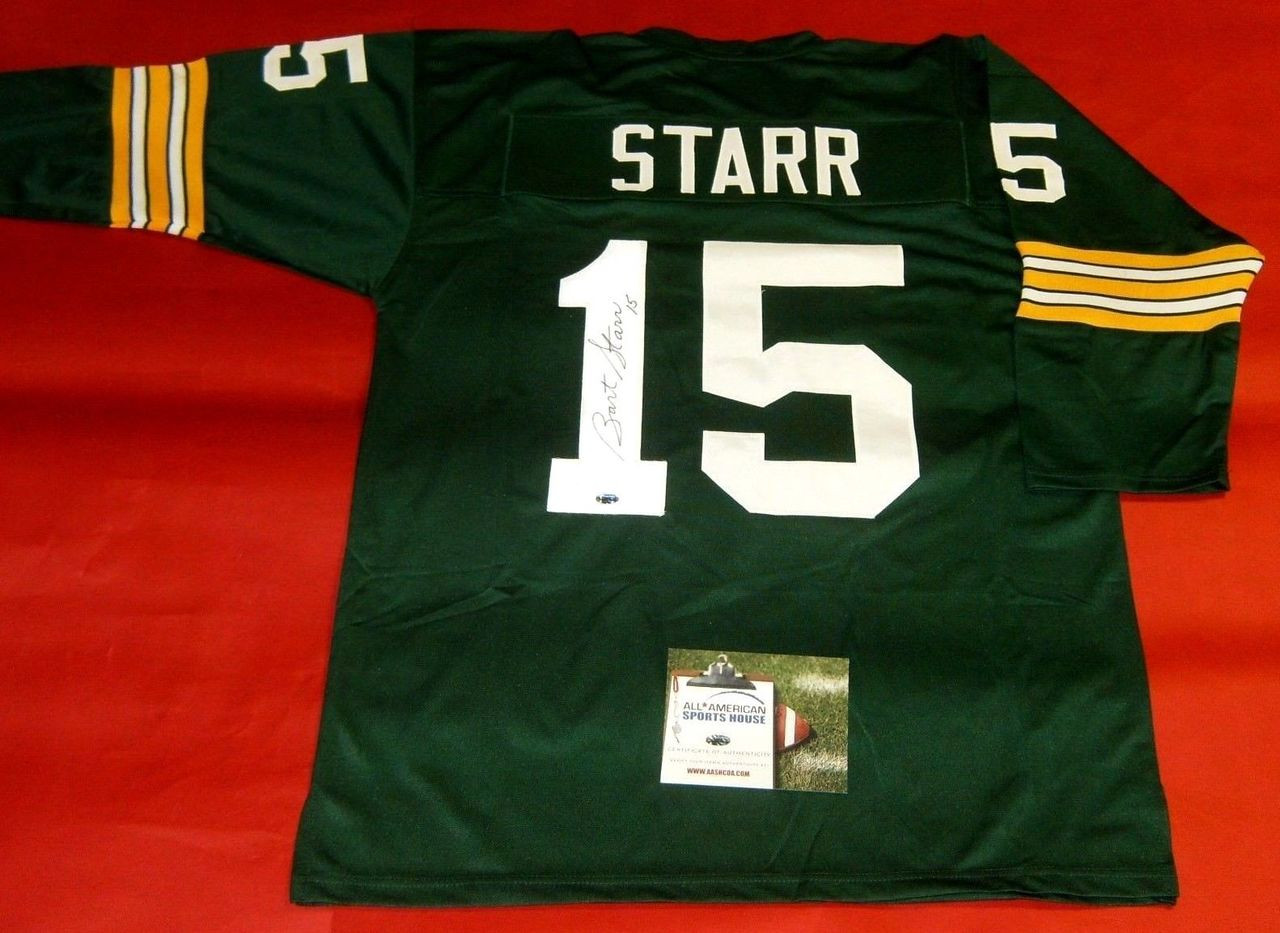 detailing 7d5cb 776bb BART STARR AUTOGRAPHED GREEN BAY PACKERS 3/4 SLEEVE JERSEY AASH
