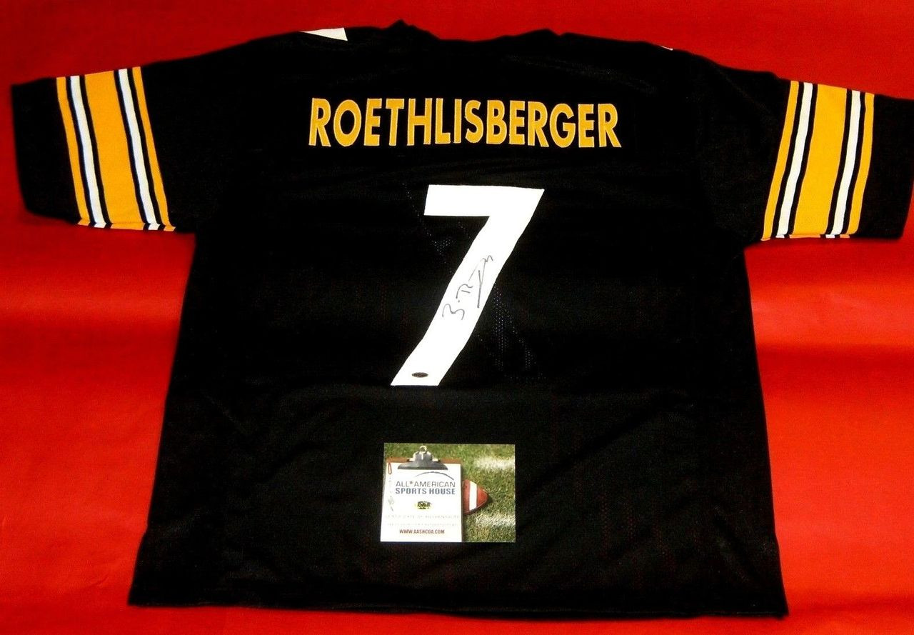 save off 37d16 1bbdc BEN ROETHLISBERGER AUTOGRAPHED PITTSBURGH STEELERS JERSEY AASH BIG BEN