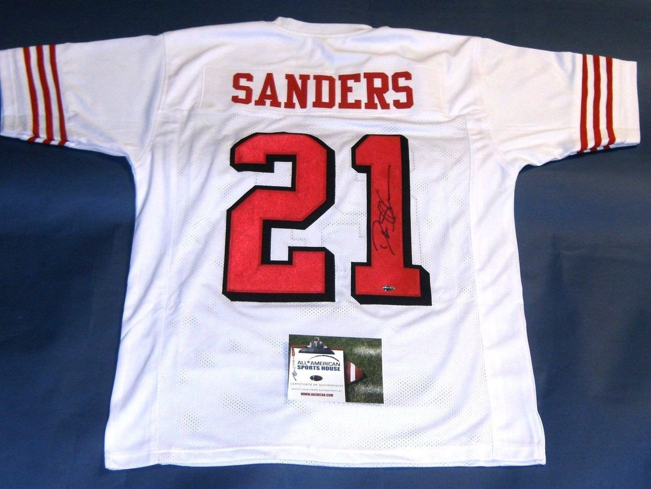 uk availability f089a f5fb8 DEION SANDERS AUTOGRAPHED SAN FRANCISCO 49ERS THROWBACK 75TH JERSEY AASH