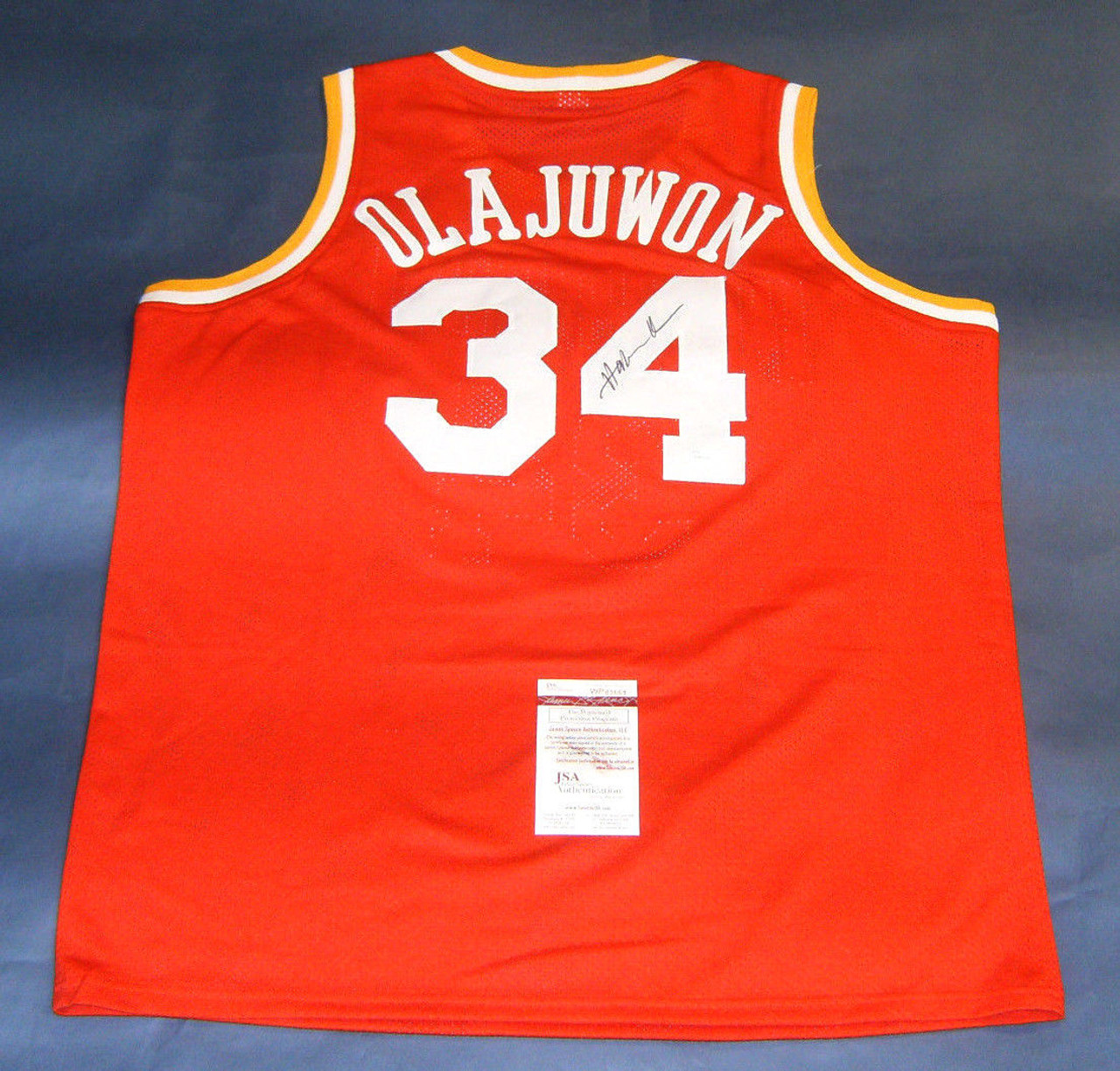 competitive price 3059c bffe6 HAKEEM OLAJUWON AUTOGRAPHED HOUSTON ROCKETS THROWBACK JERSEY JSA