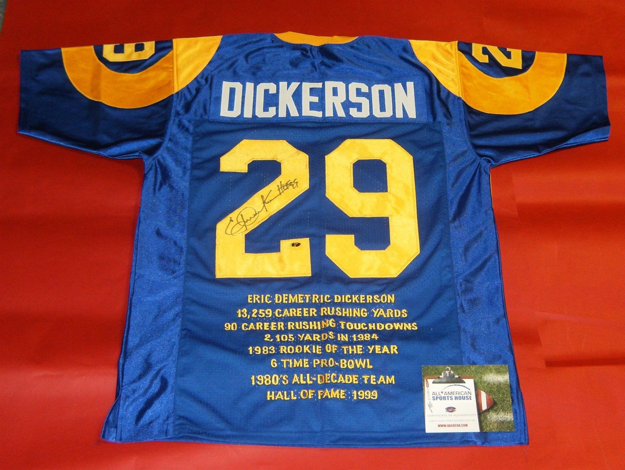 sale retailer 287f5 af10f ERIC DICKERSON AUTOGRAPHED LOS ANGELES RAMS THROWBACK STAT JERSEY AASH HOF  99