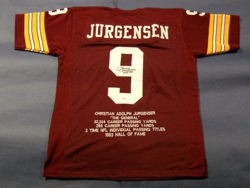SONNY JURGENSEN AUTOGRAPHED WASHINGTON REDSKINS STAT JERSEY ERROR JSA LAST ONE