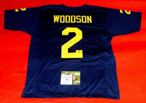 CHARLES WOODSON AUTOGRAPHED MICHIGAN WOLVERINES JERSEY UM AASH HEISMAN