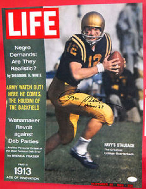 ROGER STAUBACH RARE SIGNED LIFE MAGAZINE PHOTO HEISMAN INSC JSA LOST ISSUE JFK