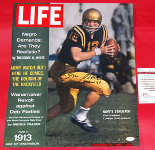the best attitude c249f d1de5 ROGER STAUBACH RARE SIGNED LIFE MAGAZINE PHOTO HEISMAN INSC JSA LOST ISSUE  JFK