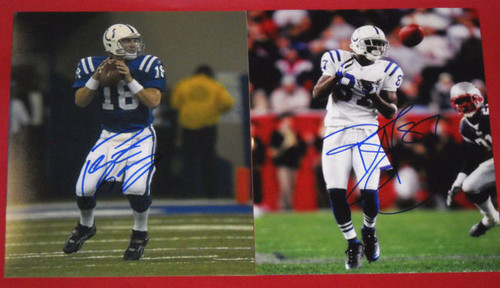 PEYTON MANNING REGGIE WAYNE AUTOGRAPHED INDIANAPOLIS COLTS 8X10 PHOTOS AASH