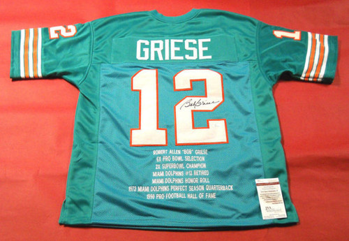 BOB GRIESE AUTOGRAPHED MIAMI DOLPHINS STAT JERSEY JSA