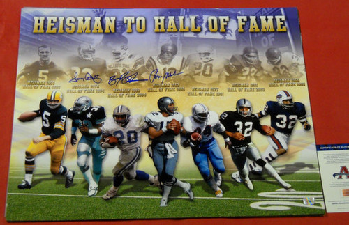 BARRY SANDERS TONY DORSETT ROGER STAUBACH AUTOGRAPHED 20X24 HEISMAN TO HOF PHOTO
