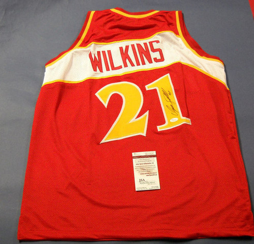 DOMINIQUE WILKINS AUTOGRAPHED ATLANTA HAWKS THROWBACK JERSEY JSA LAST ONE