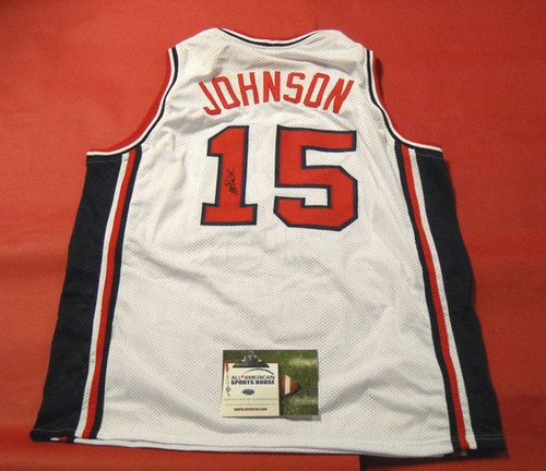 MAGIC JOHNSON AUTOGRAPHED 1992 USA OLYMPICS BASKETBALL JERSEY AASH DREAM TEAM