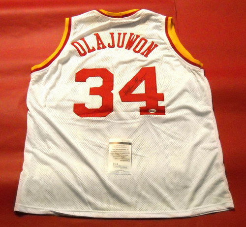 HAKEEM OLAJUWON AUTOGRAPHED HOUSTON ROCKETS W THROWBACK JERSEY JSA