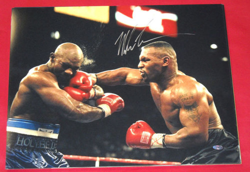 MIKE TYSON RARE AUTOGRAPHED 16X20 PHOTO STEINER BOXING IRON MIKE VS HOLYFIELD