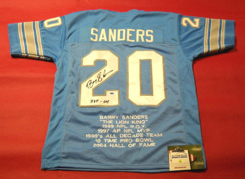 BARRY SANDERS AUTOGRAPHED DETROIT LIONS THROWBACK STAT JERSEY AASH HOF 04