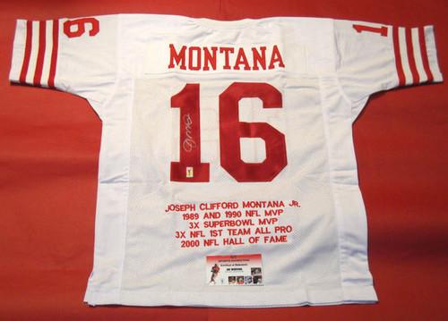801633b4a JOE MONTANA AUTOGRAPHED SAN FRANCISCO 49ERS STAT JERSEY MONTANA HOLOGRAM  GTSM